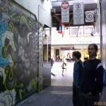 Admiring the Laneway's artwork, Melbourne