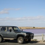 The typical LandCruiser proof picture in front of the purple salt sea