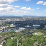 On the left the Cricket Stadium and on the right the Olympic Parc, Melbourne