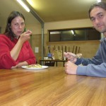 Enjoying dinner in the campkitchen at Rawnsley Park
