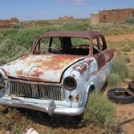 Car wreck at Farina Ruins