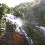 A waterfall just a few meters away from the Kuranda Railway line