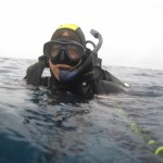 Happy diver at the surface