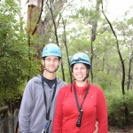 Two happy climbers just before entering the cave