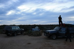 Packing up camp at Big Lagoon, Francois Peron NP