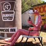 Pink Panther and Big Darwin Stubby at the Larrimah Roadhouse
