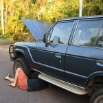 A familiar picture - Frank is working on the LandCruiser