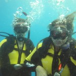 Happy wreck divers