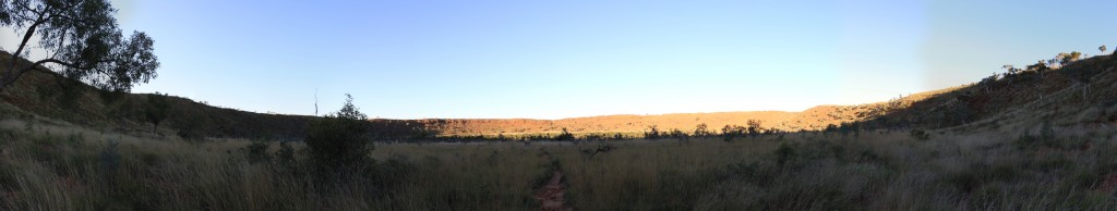 Panorama of the Wolfe Creek crater from inside
