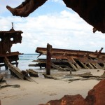Maheno wreck .. you can peek through the rust holes