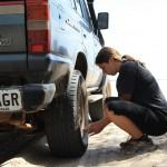 Preparing for Fraser Island: deflate tyres