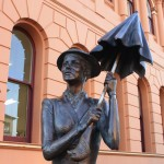 Mary Poppins statue in front of the author's birth house