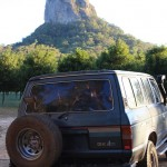 LandCruiser in front of a Glasshouse Mountain