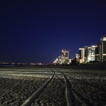Surfers Paradise beach at night